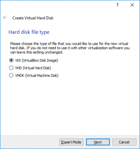 Virtual Hard Disk Setup